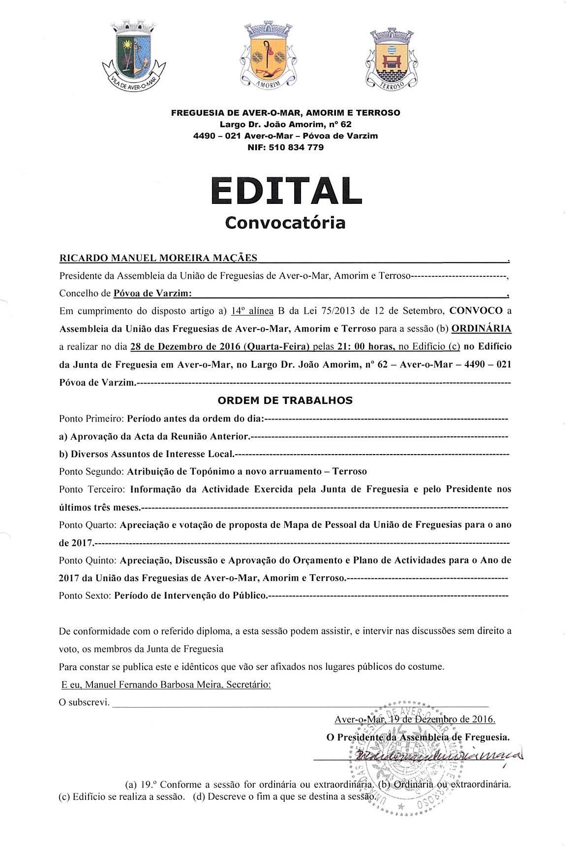 Convocatória – Sessão Ordinária da Assembleia de Freguesia