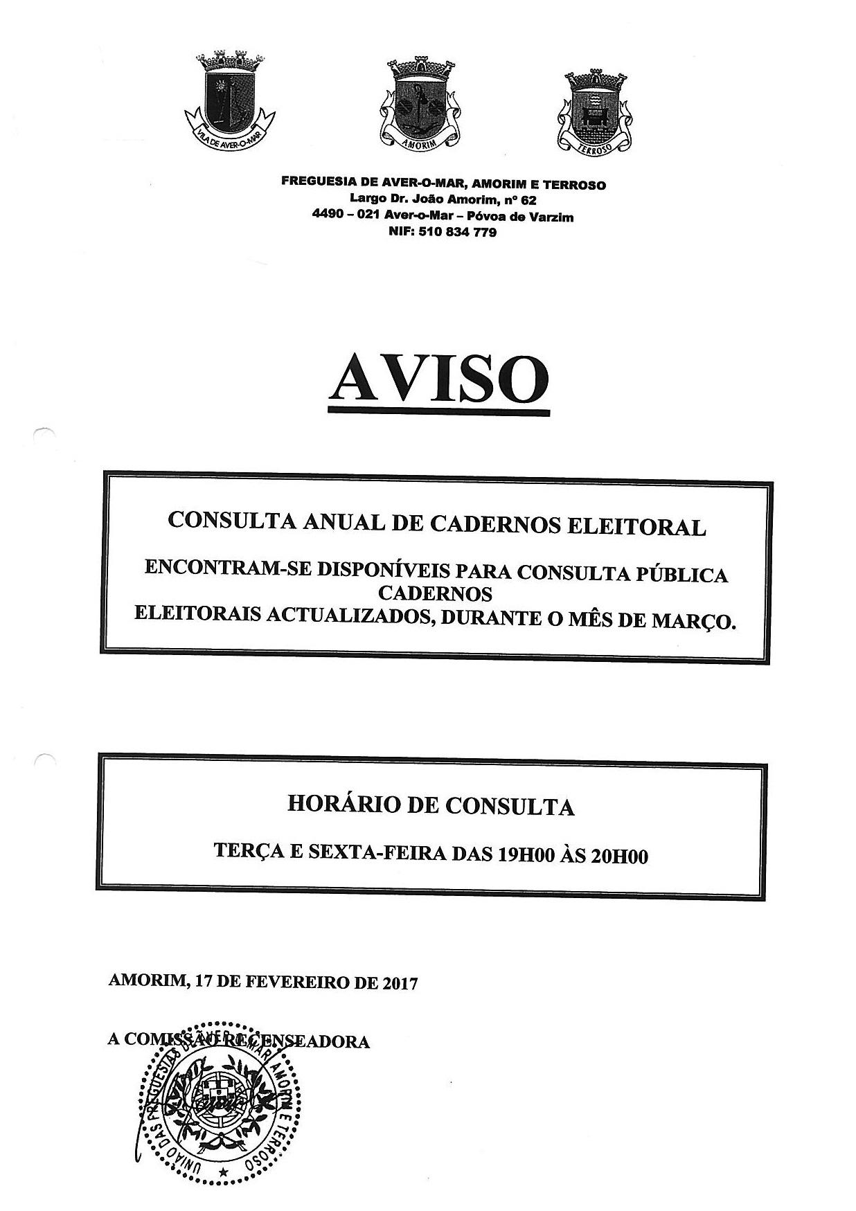 Consulta de Cadernos Eleitorais em Amorim