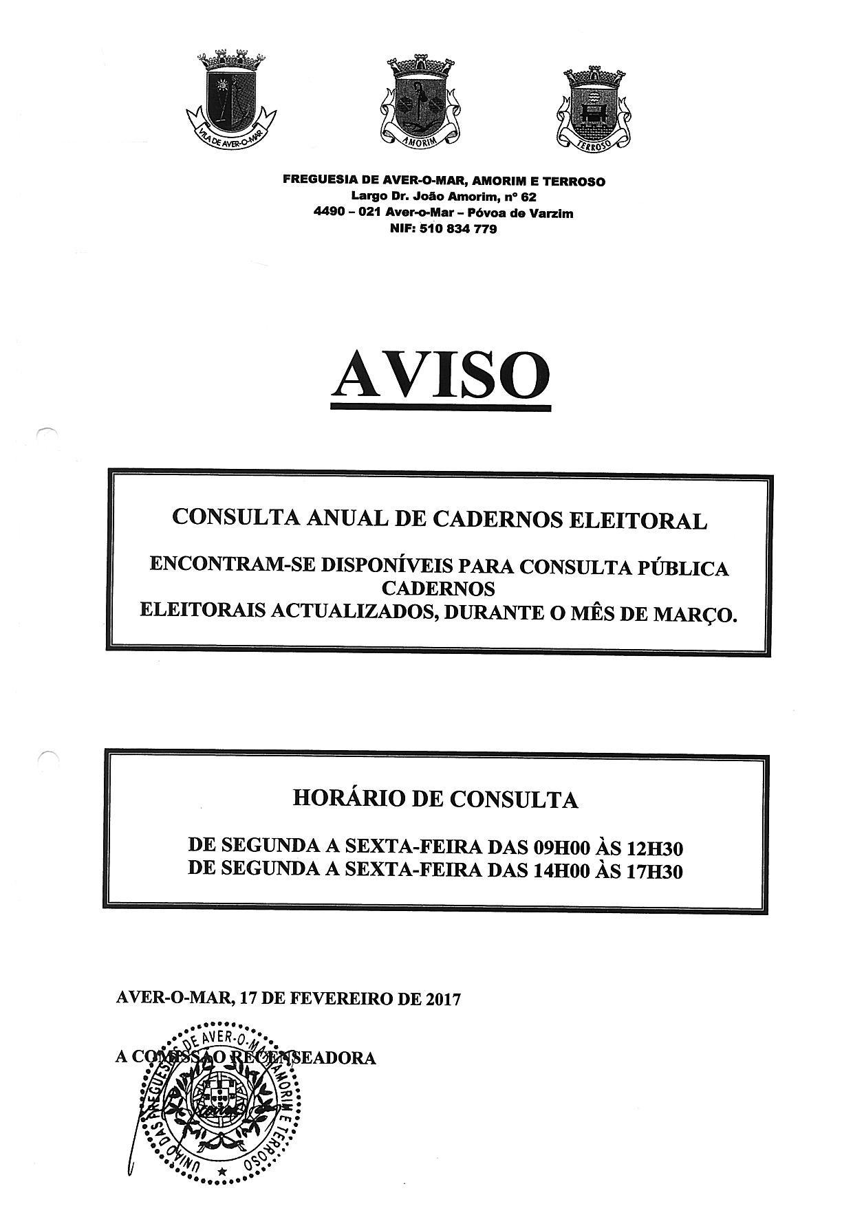 Consulta de Cadernos Eleitorais em Aver-o-Mar
