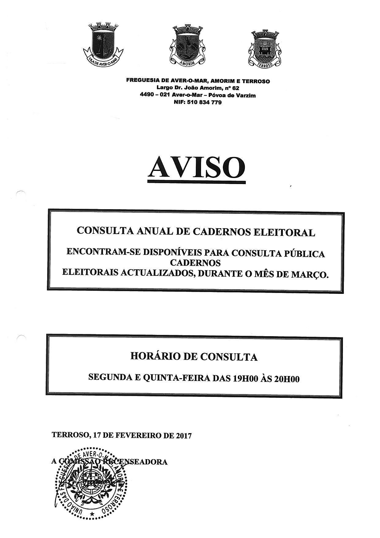 Consulta de Cadernos Eleitorais em Terroso