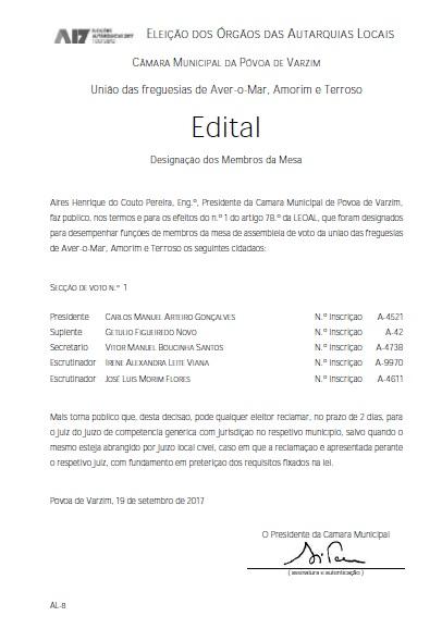 Edital – Designação dos Membros da Mesa