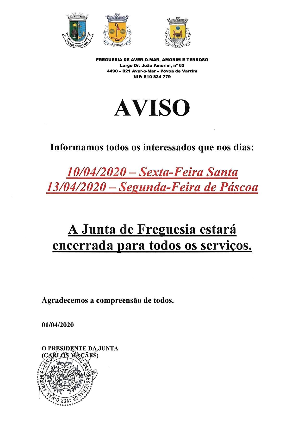 AVISO PÁSCOA 2020 – JUNTA DE FREGUESIA