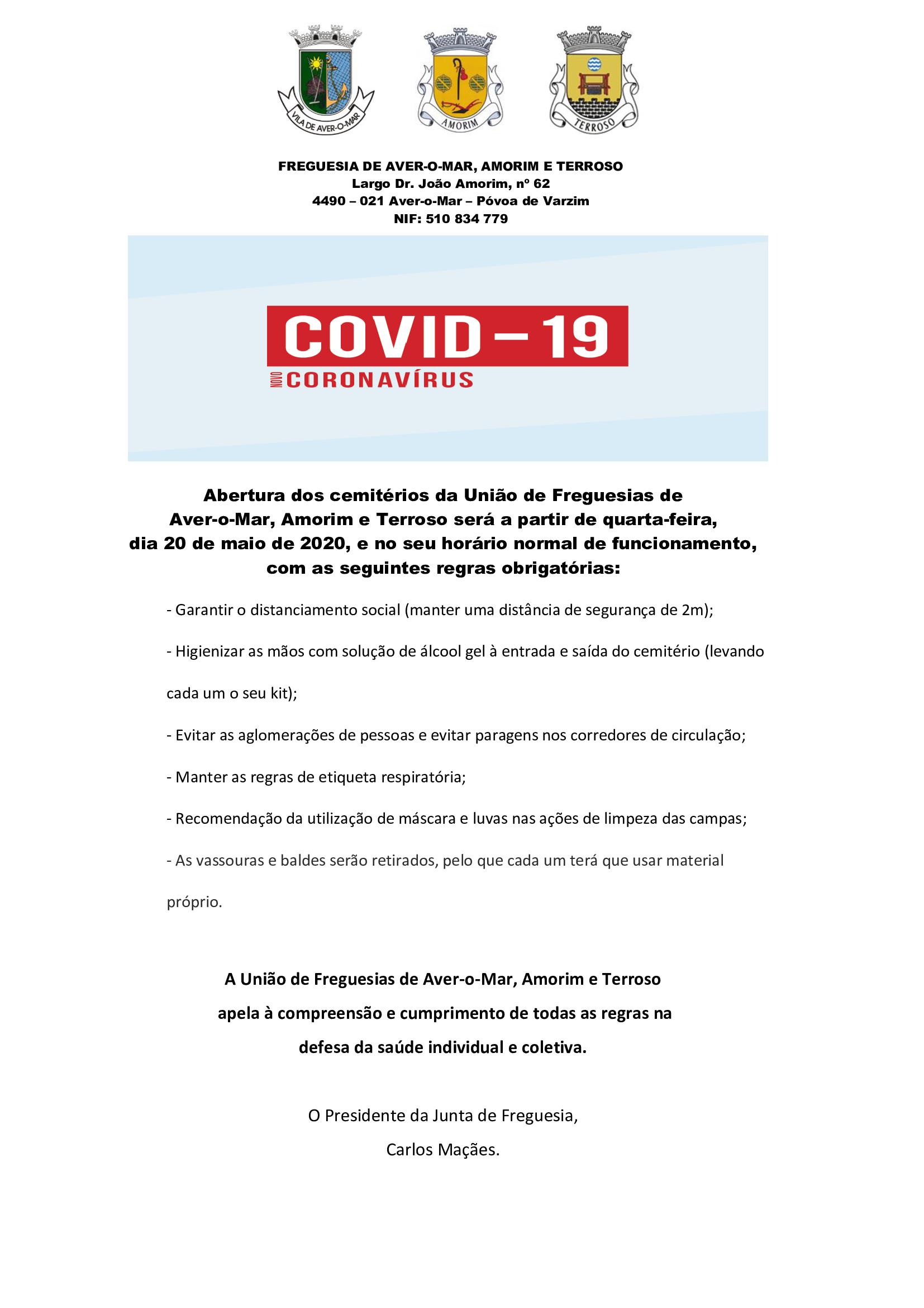 REABERTURA DOS CEMITÉRIOS NA UNIÃO DE FREGUESIAS DE AVER-O-MAR, AMORIM E TERROSO