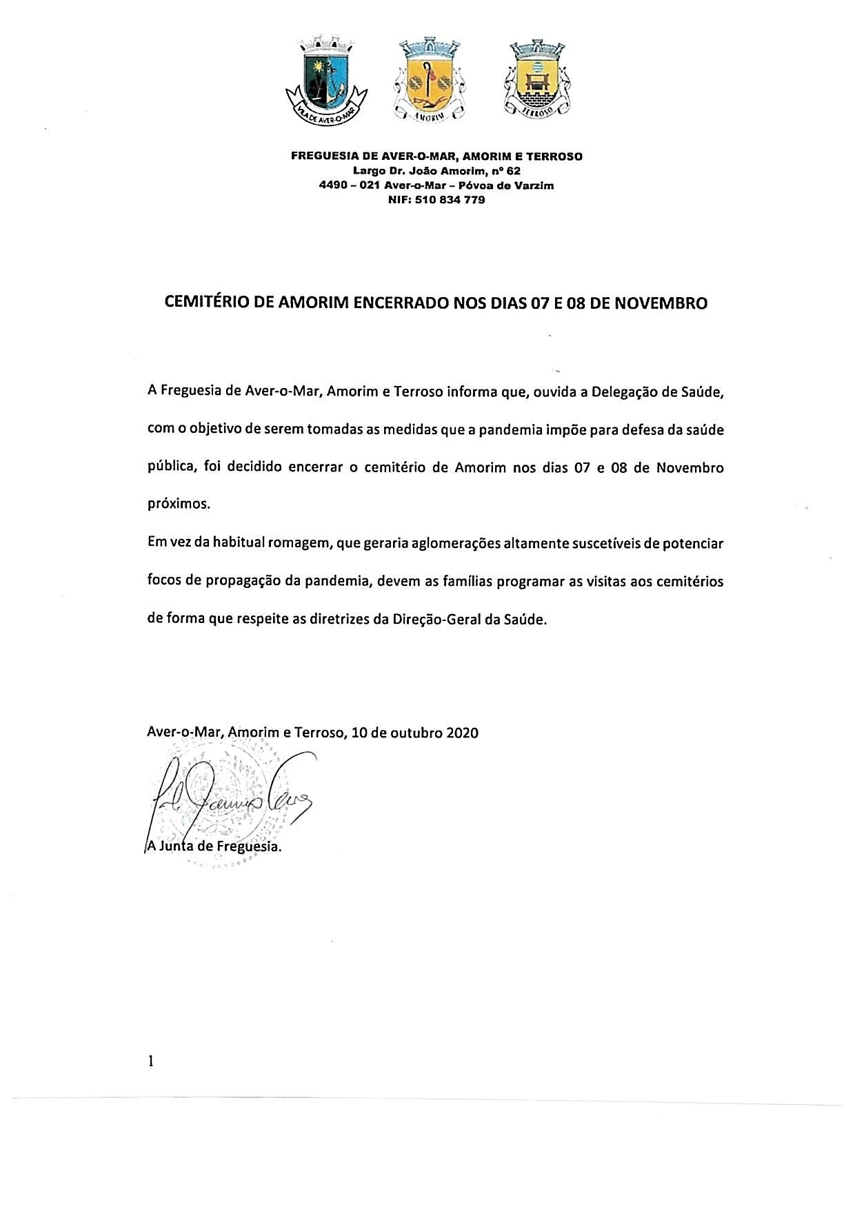 ENCERRAMENTO DO CEMITÉRIO DE AMORIM – DIAS 07 E 08 NOVEMBRO 2020
