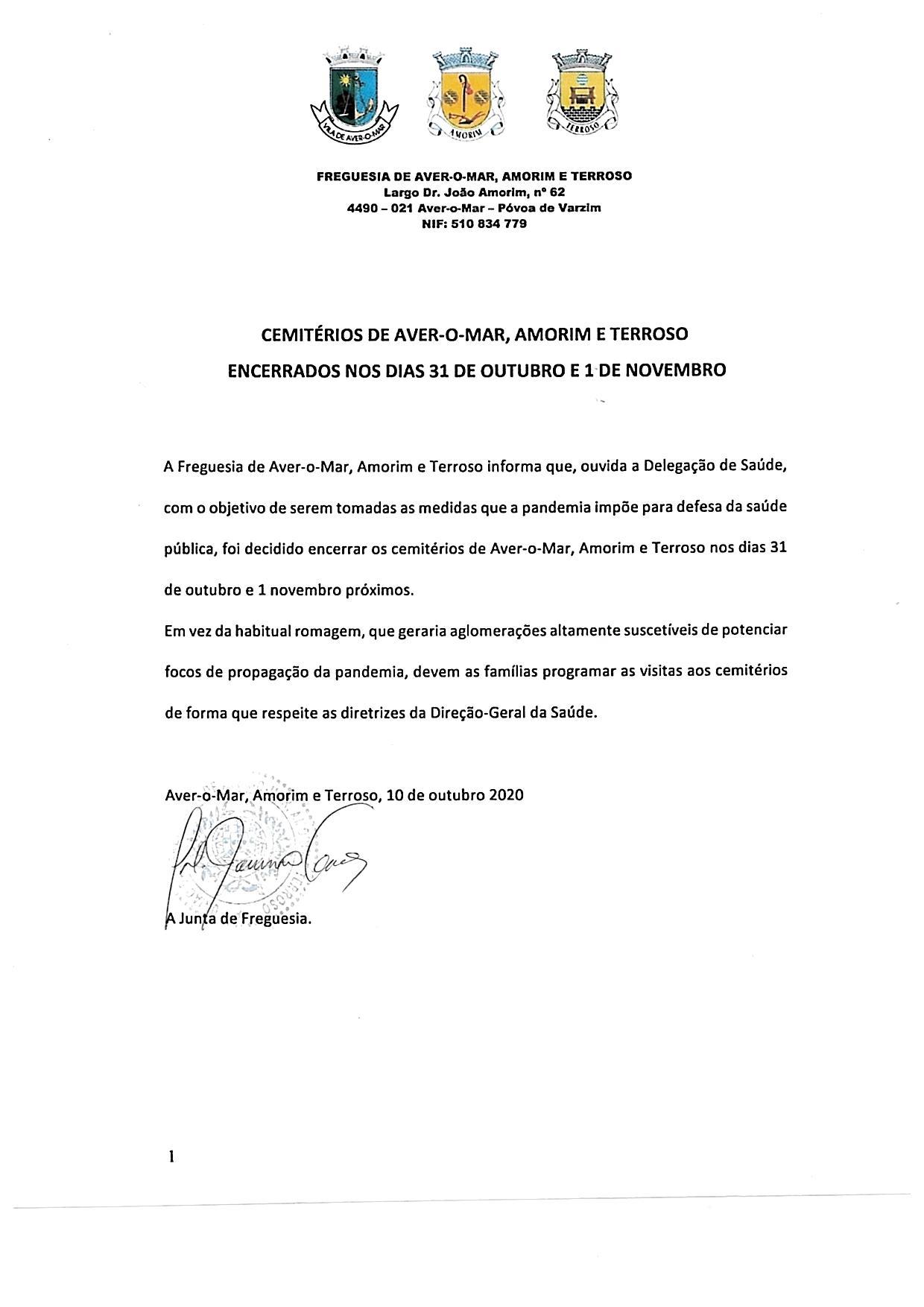 ENCERRAMENTO DOS CEMITÉRIOS DE AVER-O-MAR, AMORIM E TERROSO – DIA DOS FIÉIS DEFUNTO 2020