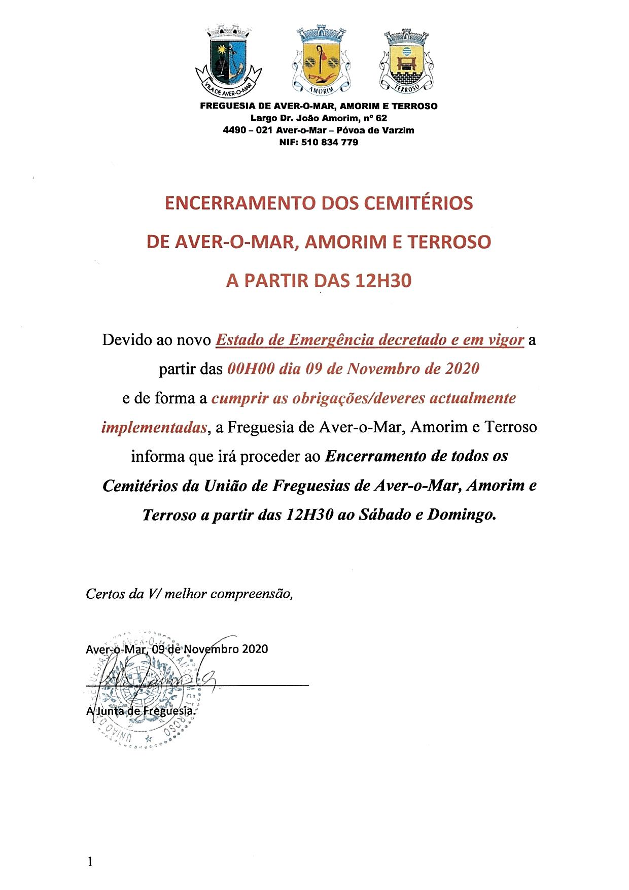 ENCERRAMENTO DOS CEMITÉRIOS DE AVER-O-MAR, AMORIM E TERROSO AO SÁBADO E DOMINGO A PARTIR DAS 12H30
