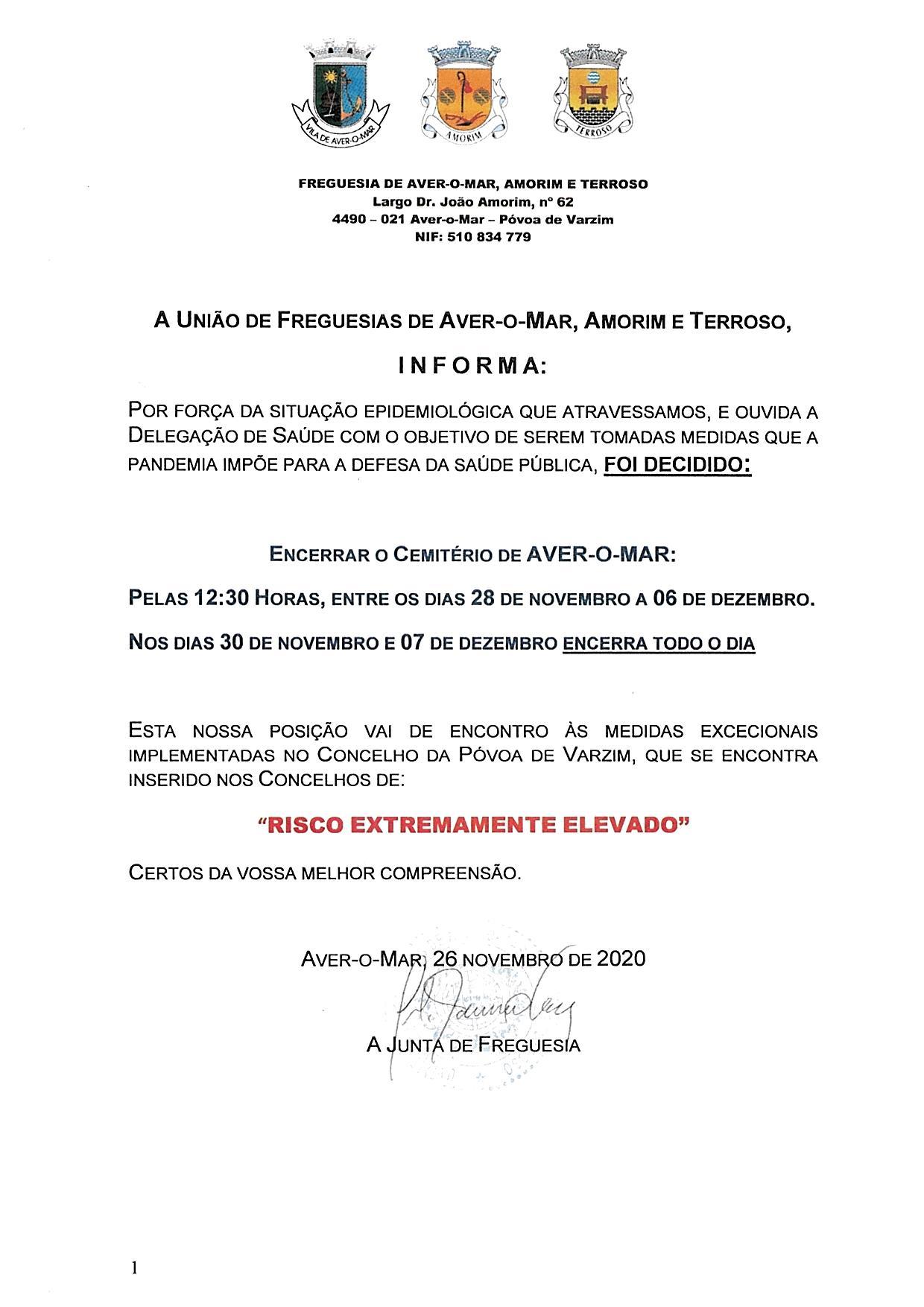 ENCERRAMENTO DO CEMITÉRIO DE AVER-O-MAR