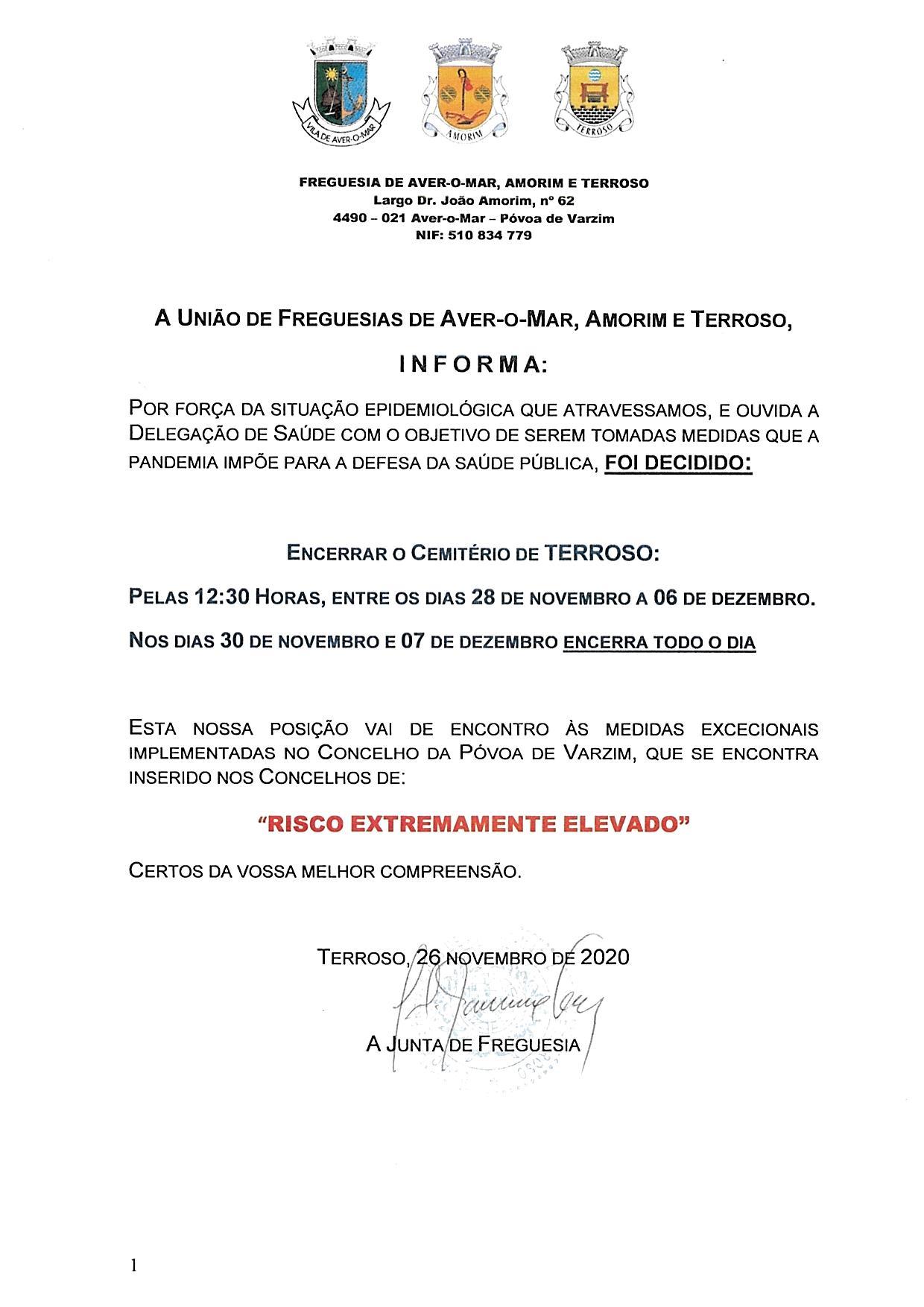ENCERRAMENTO DO CEMITÉRIO DE TERROSO