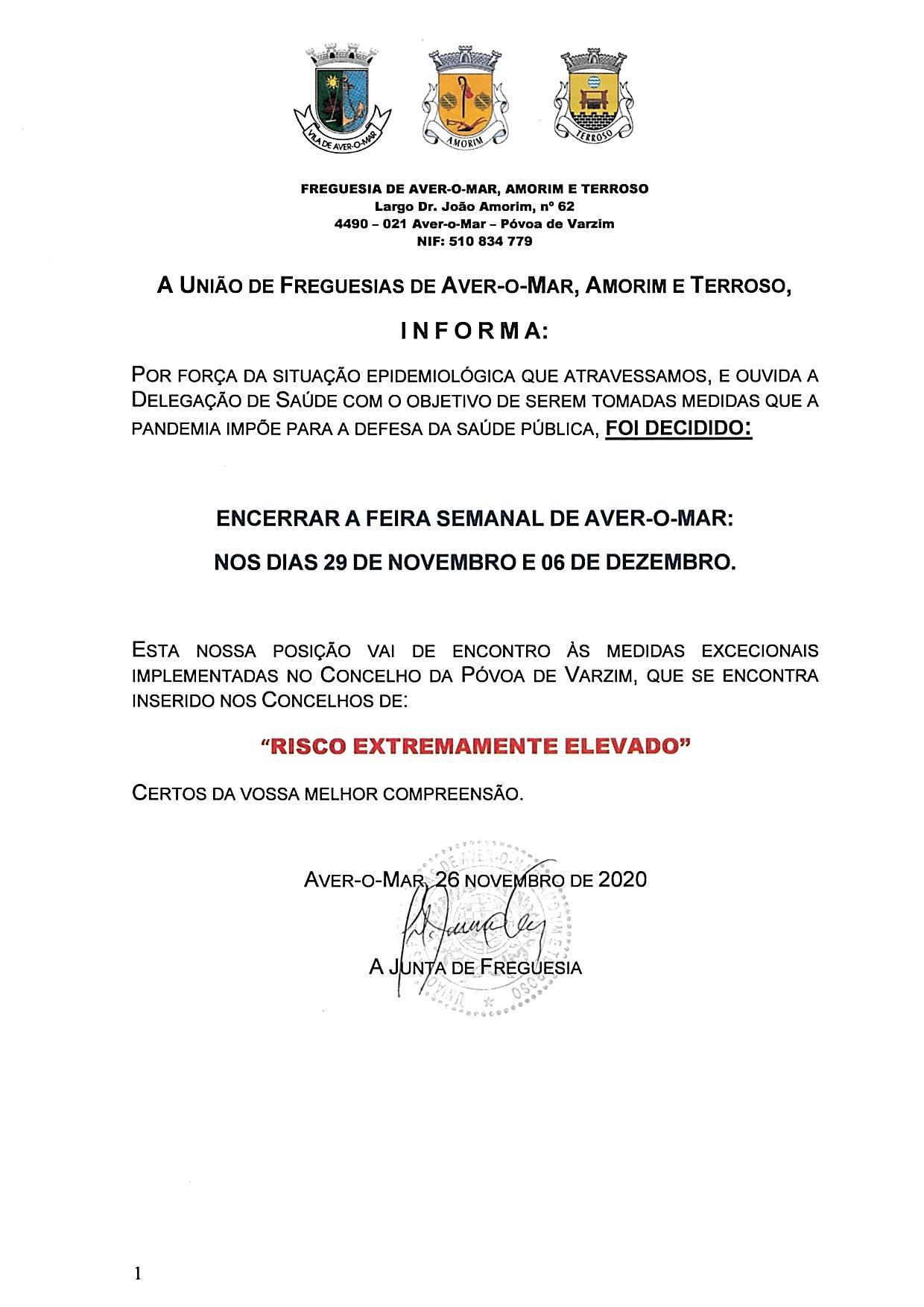 ENCERRAMENTO DA FEIRA SEMANAL DE AVER-O-MAR