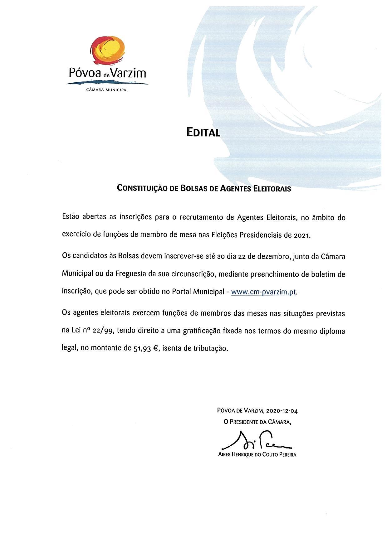 Constituição de Bolsas de Agentes Eleitorais