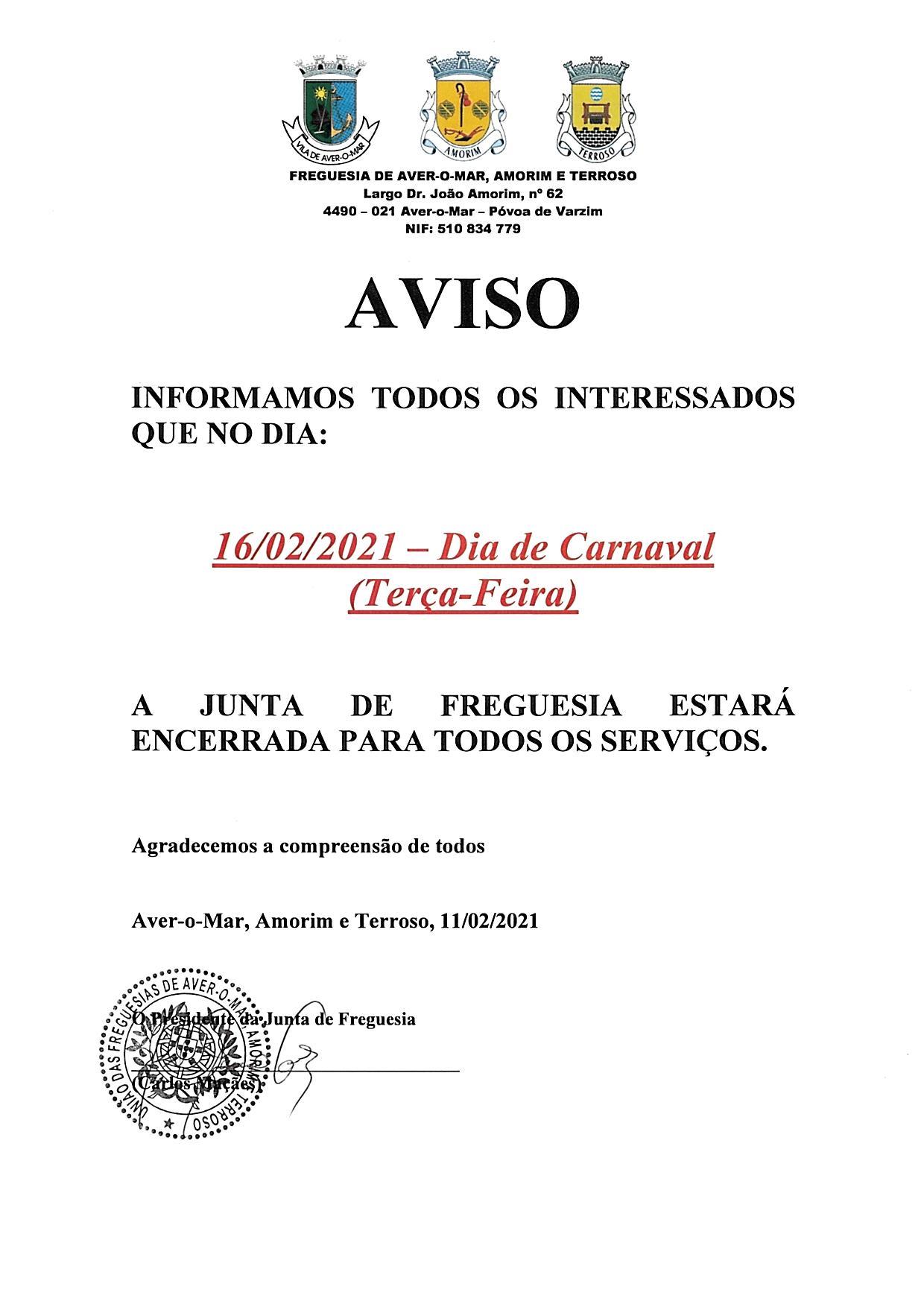 ENCERRAMENTO SERVIÇOS JUNTA DE FREGUESIA CARNAVAL 2021