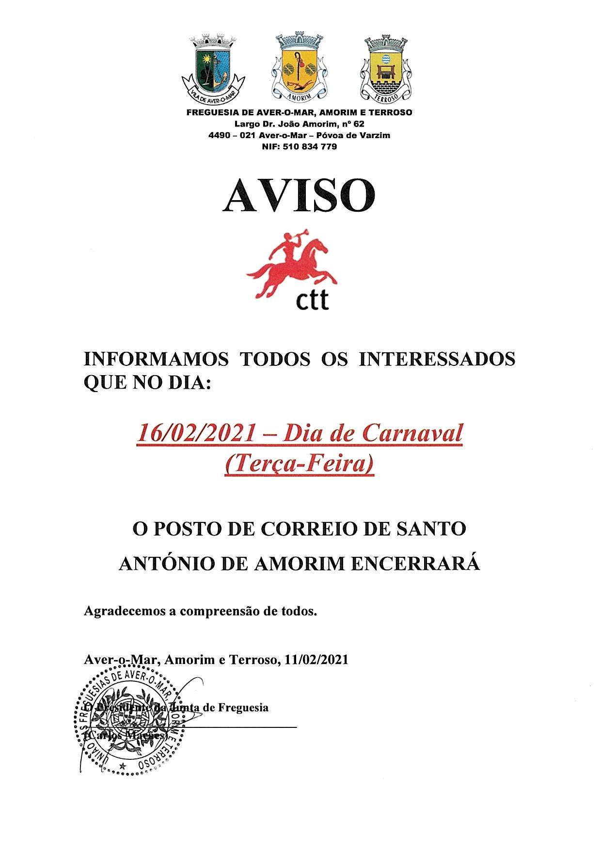 ENCERRAMENTO POSTO CTT CARNAVAL 2021
