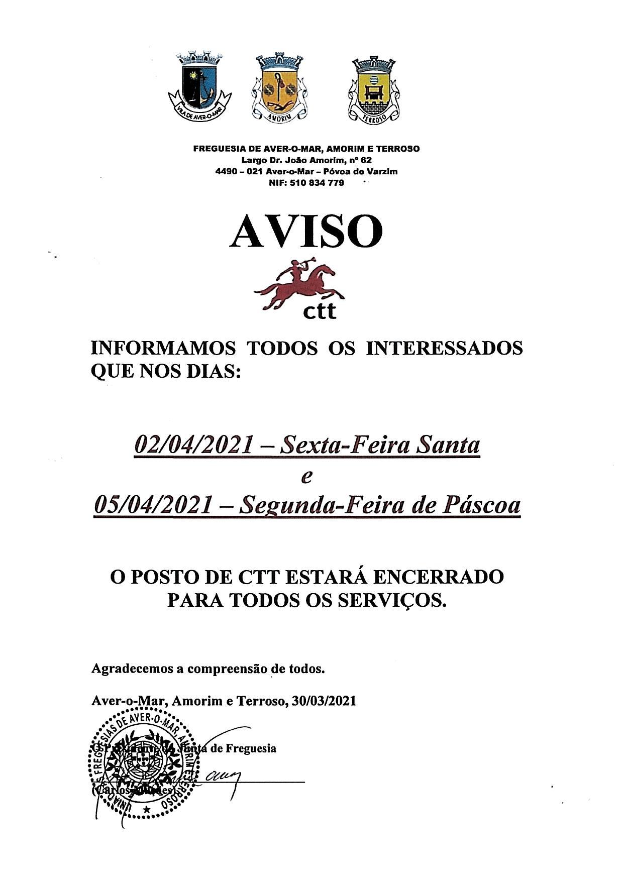 AVISO PÁSCOA 2021 POSTO CTT SANTO ANTÓNIO – AMORIM