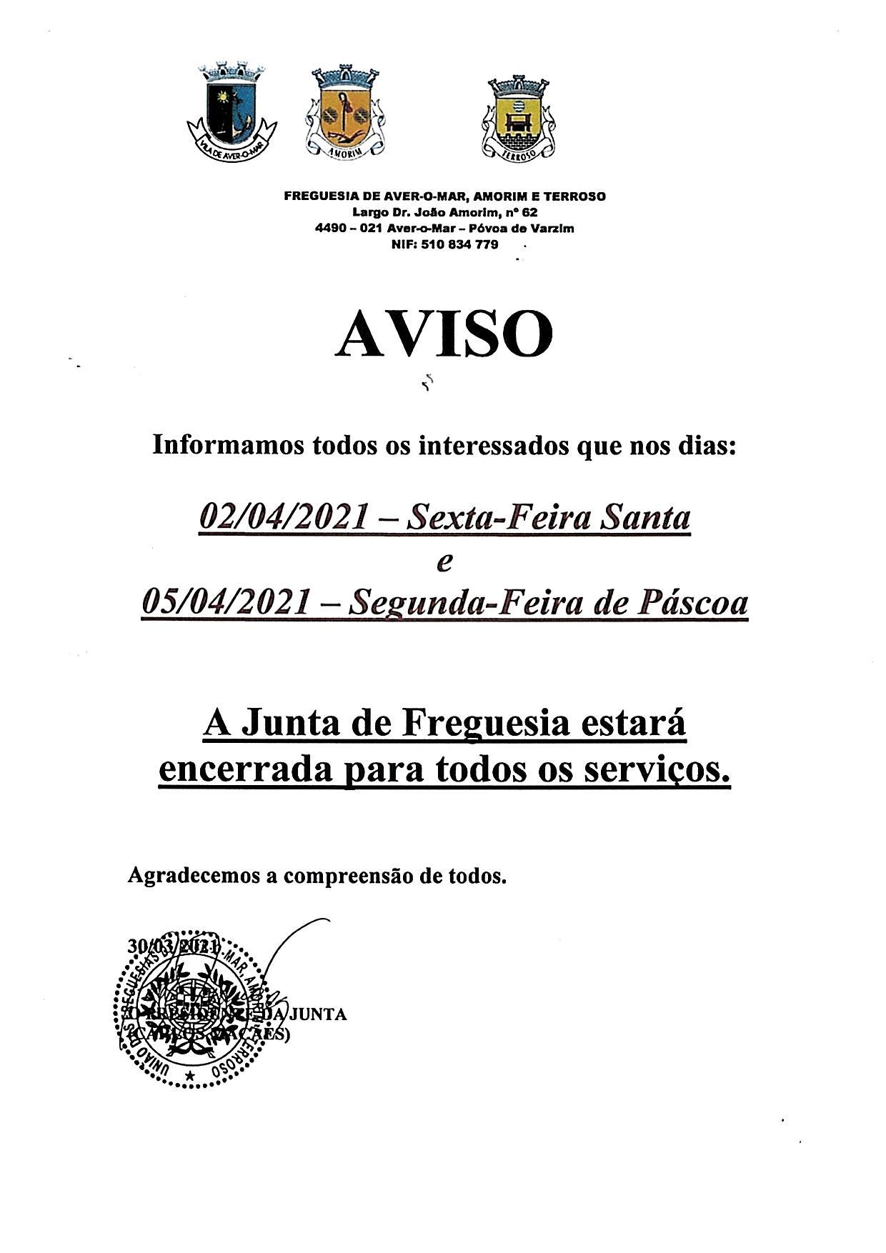 AVISO PÁSCOA 2021 JUNTA DE FREGUESIA