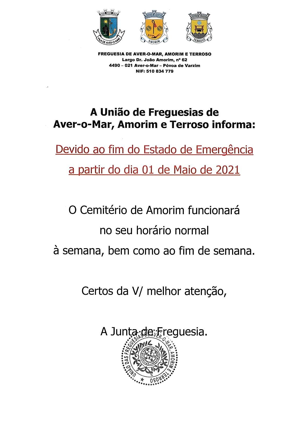 HORÁRIO DE FUNCIONAMENTO DO CEMITÉRIO DE AMORIM