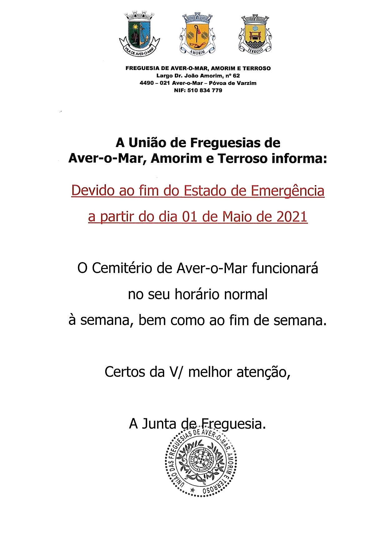HORÁRIO DE FUNCIONAMENTO DO CEMITÉRIO AVER-O-MAR