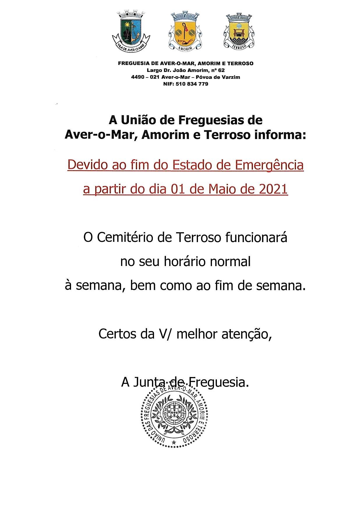 HORÁRIO DE FUNCIONAMENTO DO CEMITÉRIO DE TERROSO