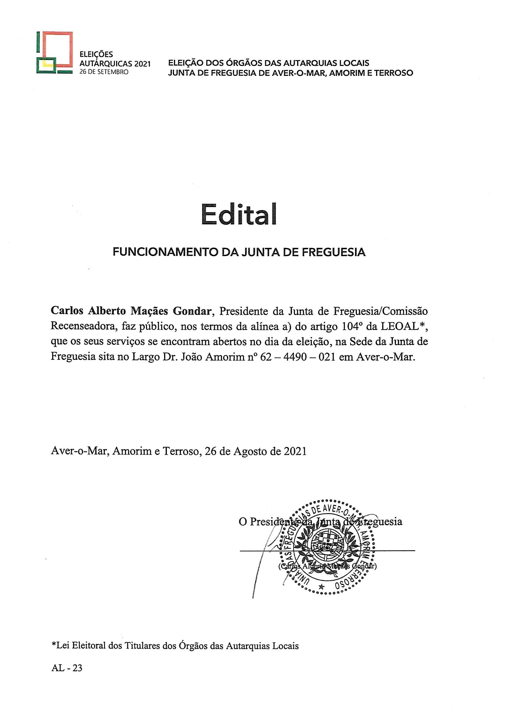 ELEIÇÕES AUTÁRQUICAS 2021 – Edital Funcionamento da Junta de Freguesia
