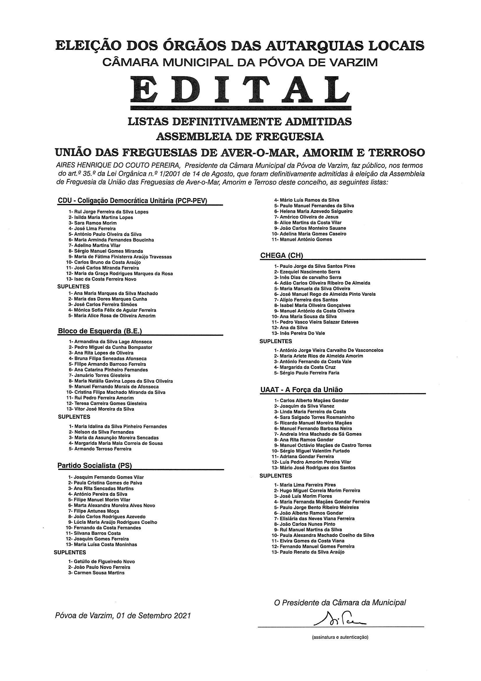 ELEIÇÕES AUTÁRQUICAS 2021 – Edital Listas Definitivamente Admitidas Assembleia Freguesia União Freguesias Aver-o-Mar, Amorim e Terroso